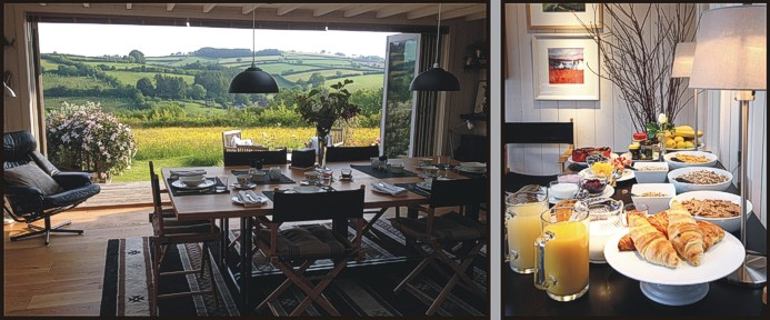 The Dining Room and a beakfast buffet at Mitchelcroft Bed and Breakfast on Dartmoor, at Scorriton, near Buckfastleigh, Devon